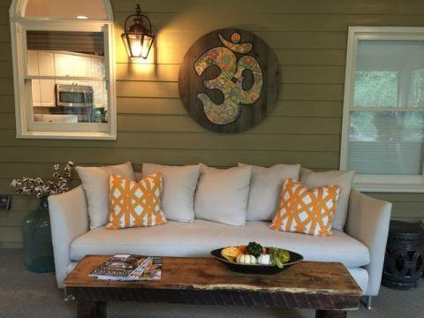 客厅绿色沙发混搭风格装修图片