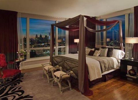 卧室咖啡色榻榻米现代风格装潢设计图片