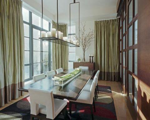 餐厅灰色窗帘现代风格装修图片