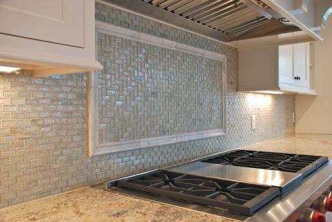 厨房绿色背景墙美式风格装潢设计图片