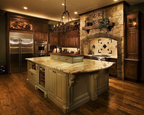 厨房灰色厨房岛台简欧风格装潢设计图片