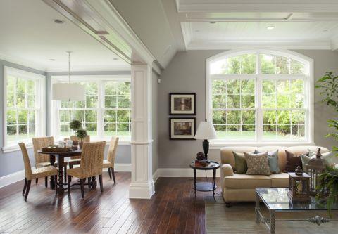 客厅白色飘窗简欧风格装潢效果图