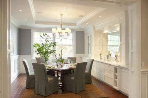 餐厅白色吊顶简欧风格装饰图片