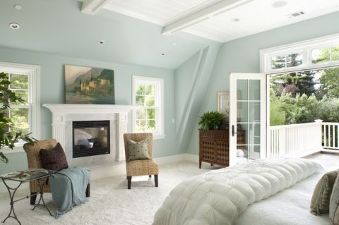 卧室蓝色背景墙简欧风格装潢图片