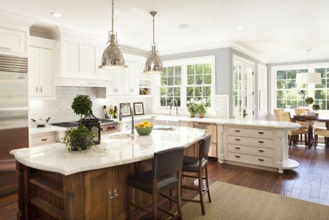 厨房白色背景墙简欧风格装潢设计图片