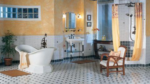 浴室浴缸简欧风格装潢效果图