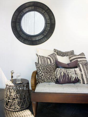 阳台咖啡色背景墙混搭风格效果图