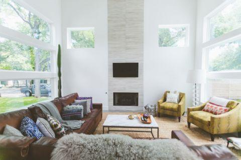 客厅白色背景墙混搭风格装饰设计图片