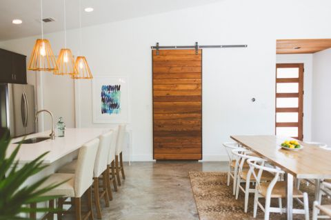 餐厅白色背景墙混搭风格效果图