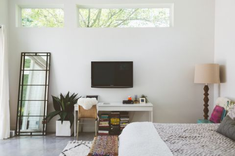卧室白色背景墙混搭风格装潢效果图