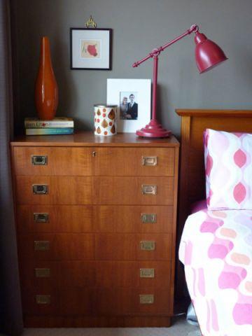 卧室橙色细节混搭风格装饰设计图片