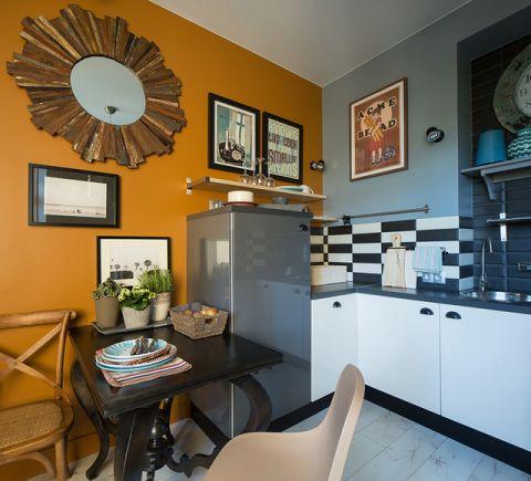 餐厅黄色背景墙混搭风格装饰图片