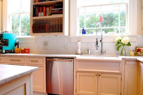 厨房白色橱柜混搭风格装饰设计图片