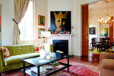 客厅彩色背景墙混搭风格装修效果图