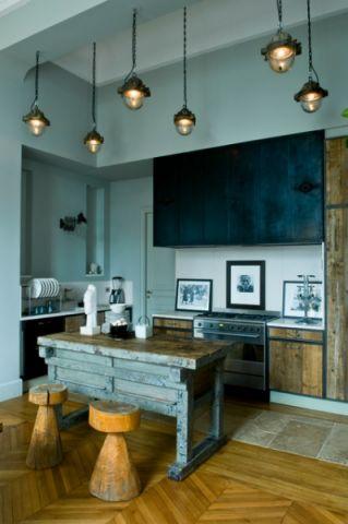 厨房灰色吧台混搭风格装修图片