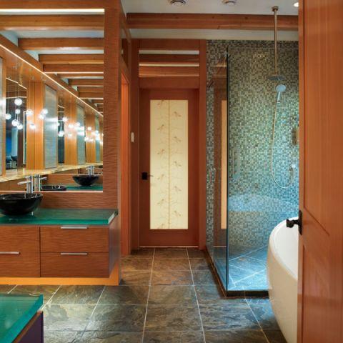 卫生间橙色细节混搭风格装饰设计图片