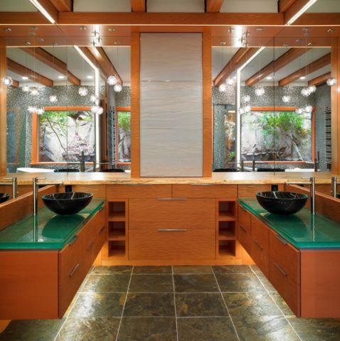 卫生间橙色细节混搭风格装潢设计图片
