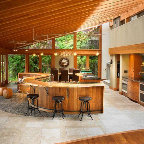 厨房橙色吧台混搭风格装潢效果图
