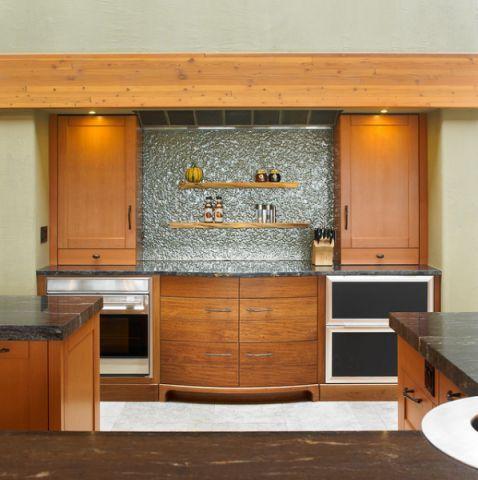 厨房橙色橱柜混搭风格装饰图片
