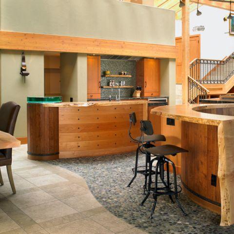 厨房橙色橱柜混搭风格装潢图片