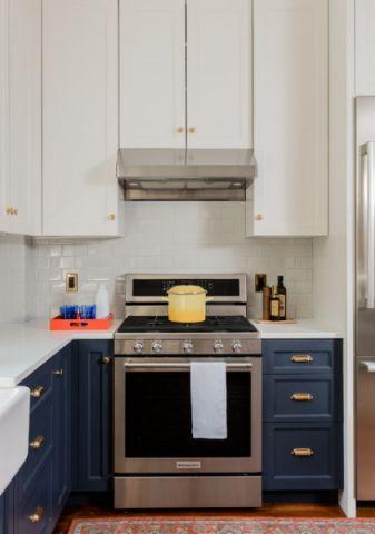 厨房蓝色橱柜混搭风格装潢设计图片
