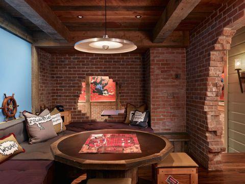 清新自然混搭风格地下室装修效果图