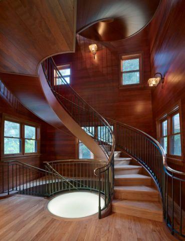 玄关红色楼梯混搭风格装潢效果图