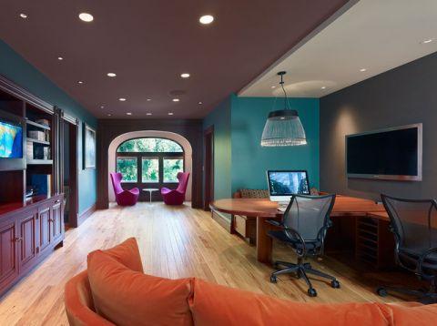 书房咖啡色书桌混搭风格装修设计图片