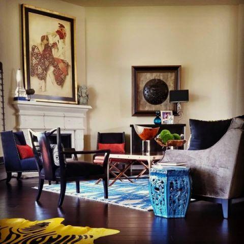 客厅蓝色沙发混搭风格装潢效果图