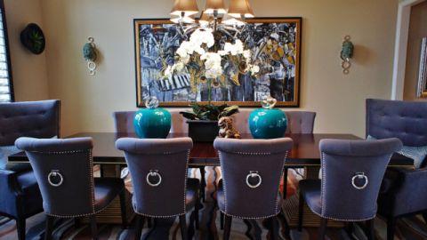 餐厅紫色细节混搭风格装饰设计图片