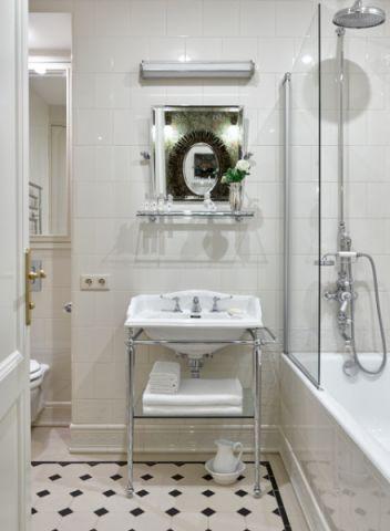 卫生间白色背景墙混搭风格装修效果图