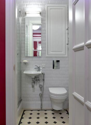 卫生间白色背景墙混搭风格装饰效果图