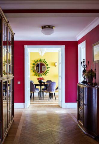 客厅红色背景墙混搭风格装潢效果图