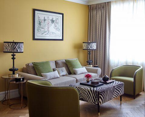 客厅黄色背景墙混搭风格装修设计图片