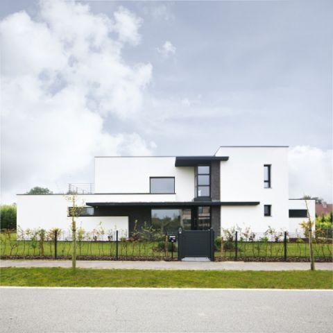 外景白色外墙现代风格装修设计图片