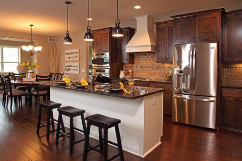 厨房黑色吧台现代风格装修图片