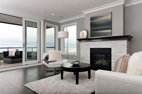 客厅黑色茶几现代风格装修设计图片