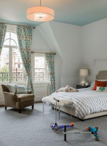 儿童房绿色窗帘现代风格装修图片