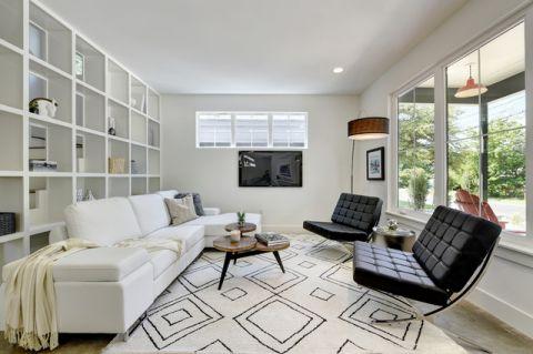 客厅白色细节现代风格装修设计图片