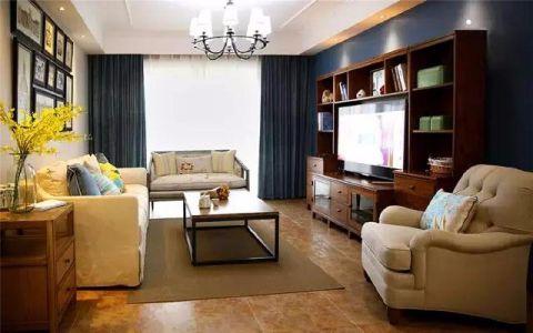 琥珀新天地90平美式风格三居室装修效果图