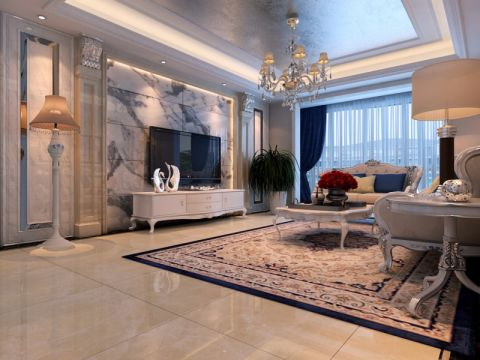 中海九号公馆180平欧式风格四居室装修效果图