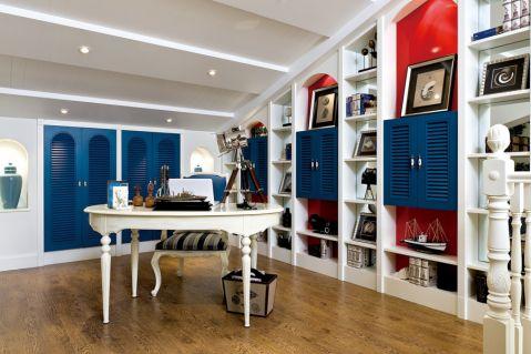 书房书桌地中海风格装修图片