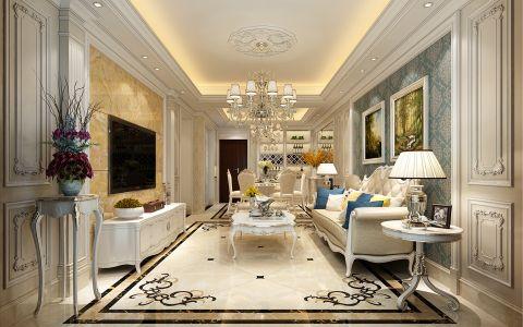 中铁品园三室两厅120平方欧式风格三居室装修效果图