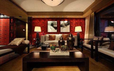 聚湖半岛128平中式风格三居室装修效果图