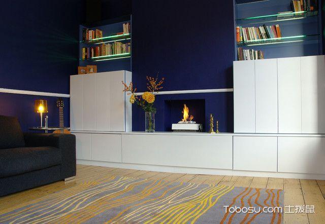 客厅白色书架现代风格装潢设计图片