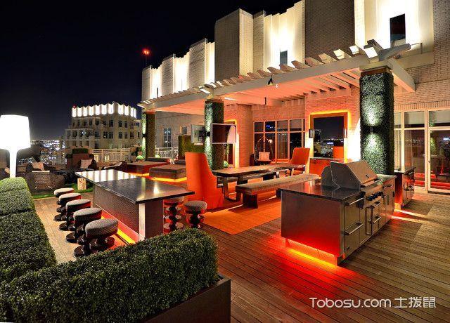 阳台橙色吧台现代风格装潢设计图片