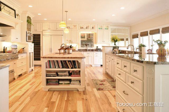 厨房白色橱柜美式风格装饰效果图