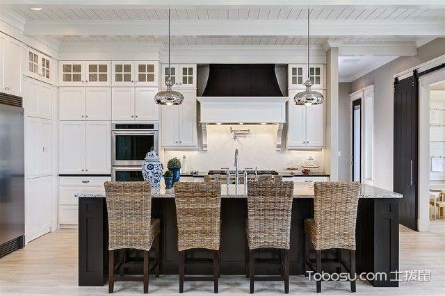 厨房白色吧台美式风格装饰图片