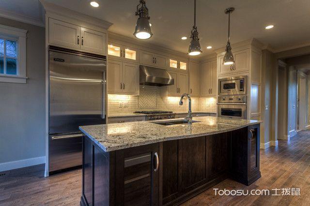 厨房灰色吧台美式风格装饰图片