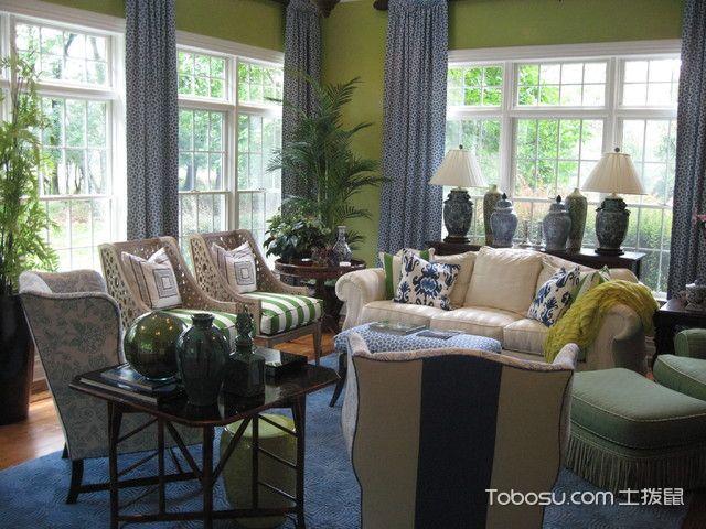 客厅绿色沙发美式风格装修设计图片